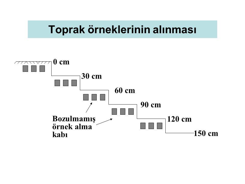 Toprak örneklerinin alınması 0 cm 30 cm 60 cm 90 cm 120 cm 150 cm Bozulmamış örnek alma kabı