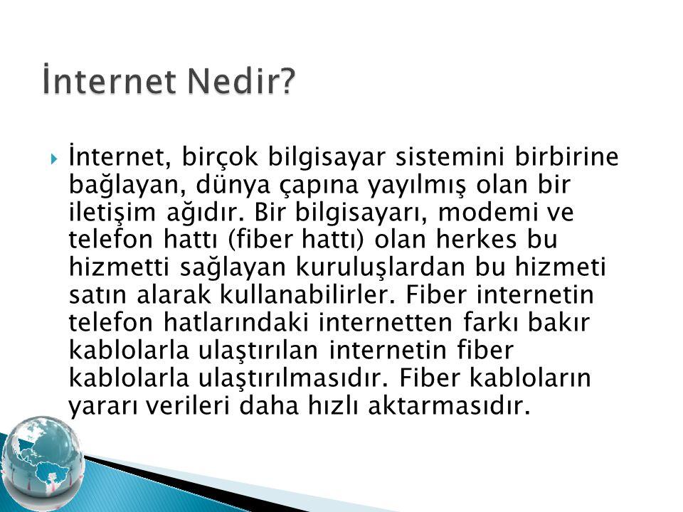  İnternet, birçok bilgisayar sistemini birbirine bağlayan, dünya çapına yayılmış olan bir iletişim ağıdır. Bir bilgisayarı, modemi ve telefon hattı (