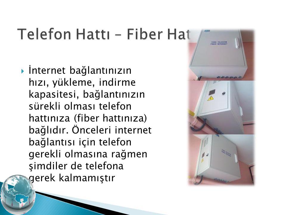  İnternet bağlantınızın hızı, yükleme, indirme kapasitesi, bağlantınızın sürekli olması telefon hattınıza (fiber hattınıza) bağlıdır. Önceleri intern