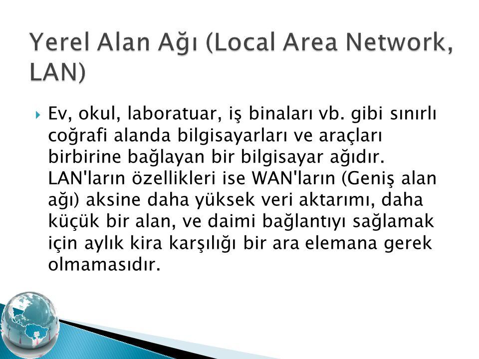  Ev, okul, laboratuar, iş binaları vb. gibi sınırlı coğrafi alanda bilgisayarları ve araçları birbirine bağlayan bir bilgisayar ağıdır. LAN'ların öze