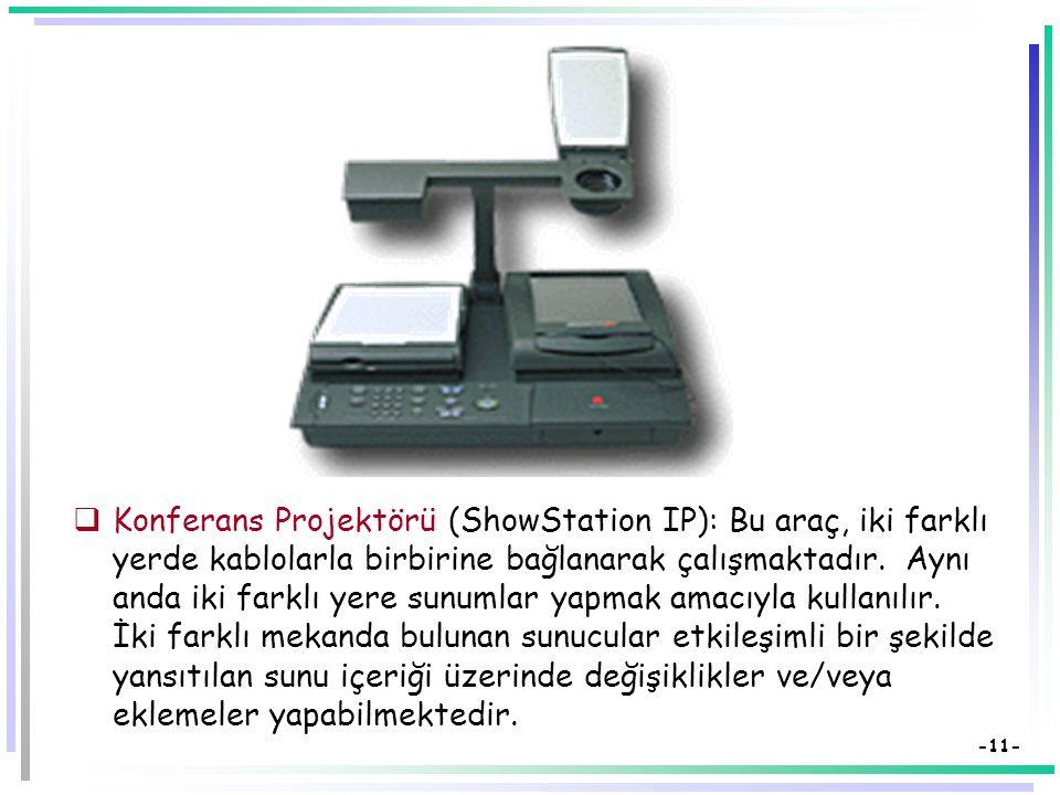 -10-  Data show (LCD Panel) bilgisayardaki görüntüyü yansıtmak üzere tepegözle birlikte kullanılır.