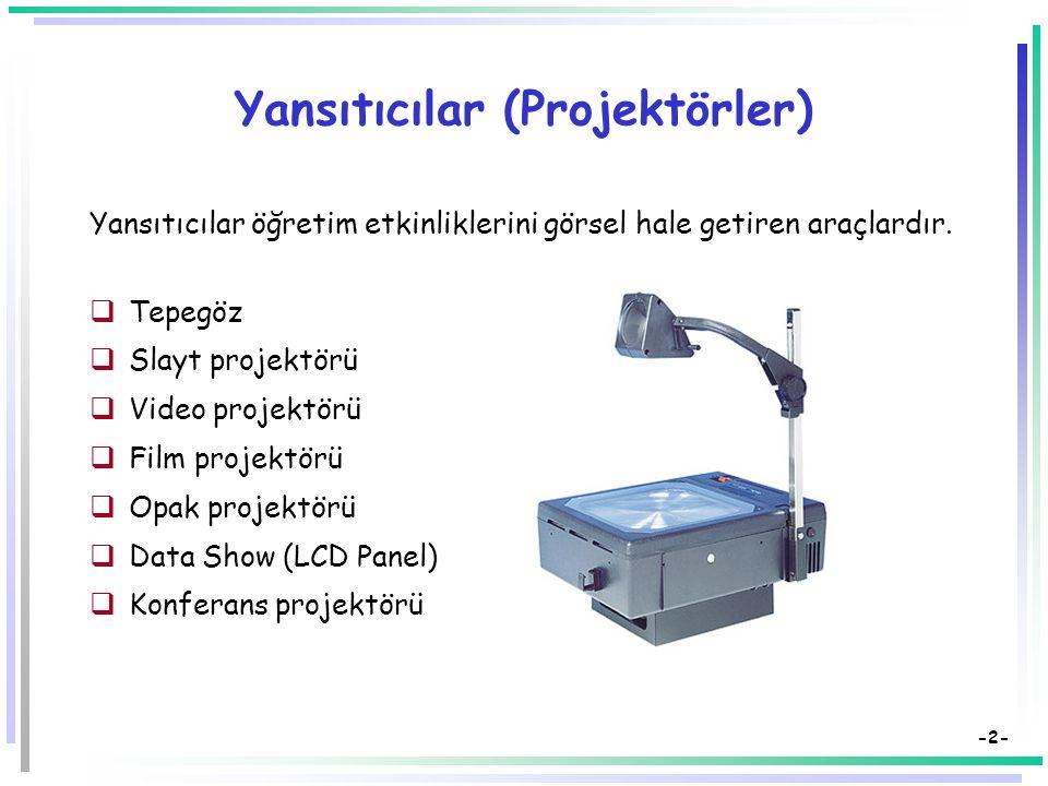Öğretim Teknolojileri ve Materyal Tasarımı Öğretimde Görsel-İşitsel Araçlar Yansıtıcılar Dr. Süleyman Sadi SEFEROĞLU Hacettepe Üniversitesi, Eğitim Fa