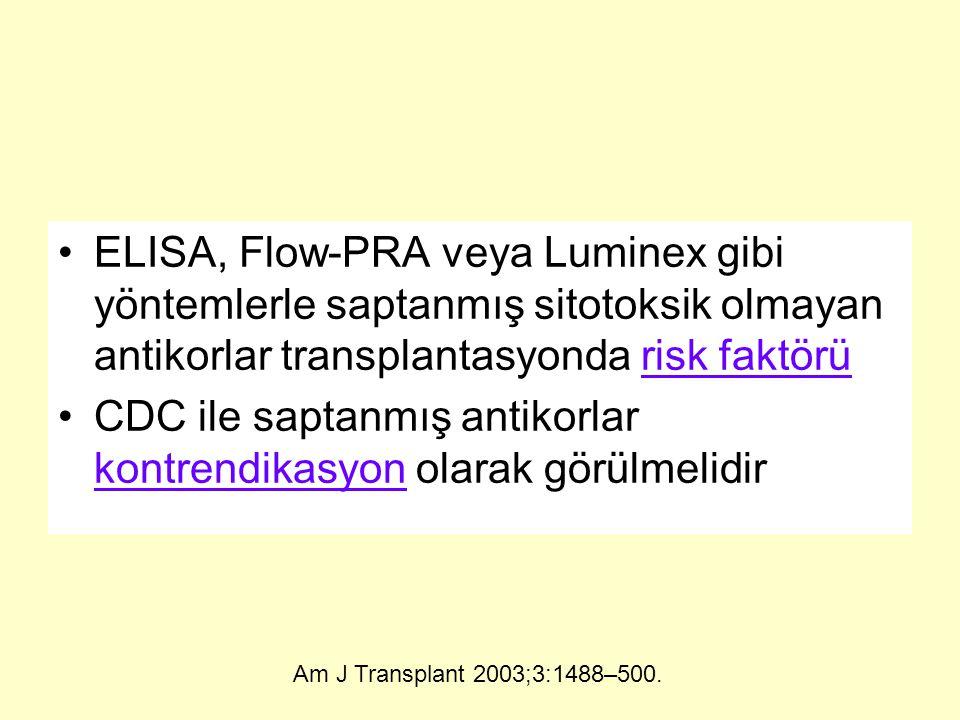 ELISA, Flow-PRA veya Luminex gibi yöntemlerle saptanmış sitotoksik olmayan antikorlar transplantasyonda risk faktörü CDC ile saptanmış antikorlar kontrendikasyon olarak görülmelidir Am J Transplant 2003;3:1488–500.