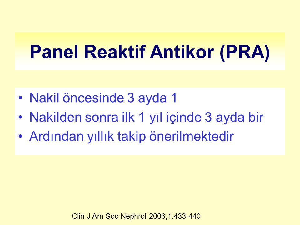 Panel Reaktif Antikor (PRA) Nakil öncesinde 3 ayda 1 Nakilden sonra ilk 1 yıl içinde 3 ayda bir Ardından yıllık takip önerilmektedir Clin J Am Soc Nephrol 2006;1:433-440