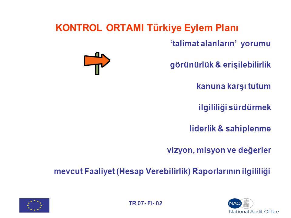 TR 07- FI- 02 KONTROL ORTAMI Türkiye Eylem Planı 'talimat alanların' yorumu görünürlük & erişilebilirlik kanuna karşı tutum ilgililiği sürdürmek liderlik & sahiplenme vizyon, misyon ve değerler mevcut Faaliyet (Hesap Verebilirlik) Raporlarının ilgililiği