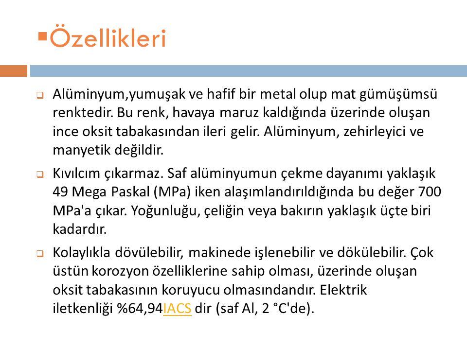 Temel özellikleri: Atom numarası13 Element serisiMetaller GrupGrup, periyot, blokperiyotblok1313, 3, p3p Görünüş Gümüşümsü Atom a ğ ırlı ğ ı 26,9815386(8) g/mol Elektron dizilimiNeNe 3s 2 3p 1 Enerji seviyesiEnerji seviyesi başına Elektronlar Elektronlar 2, 8, 3