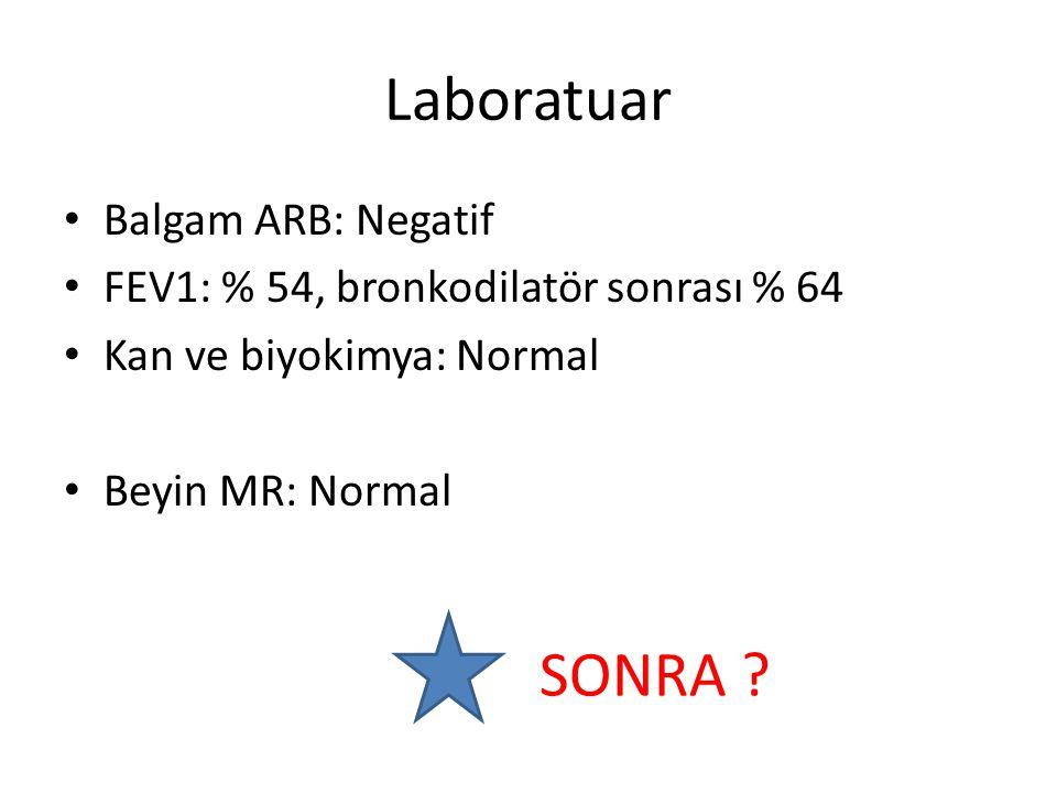 Laboratuar Balgam ARB: Negatif FEV1: % 54, bronkodilatör sonrası % 64 Kan ve biyokimya: Normal Beyin MR: Normal SONRA ?