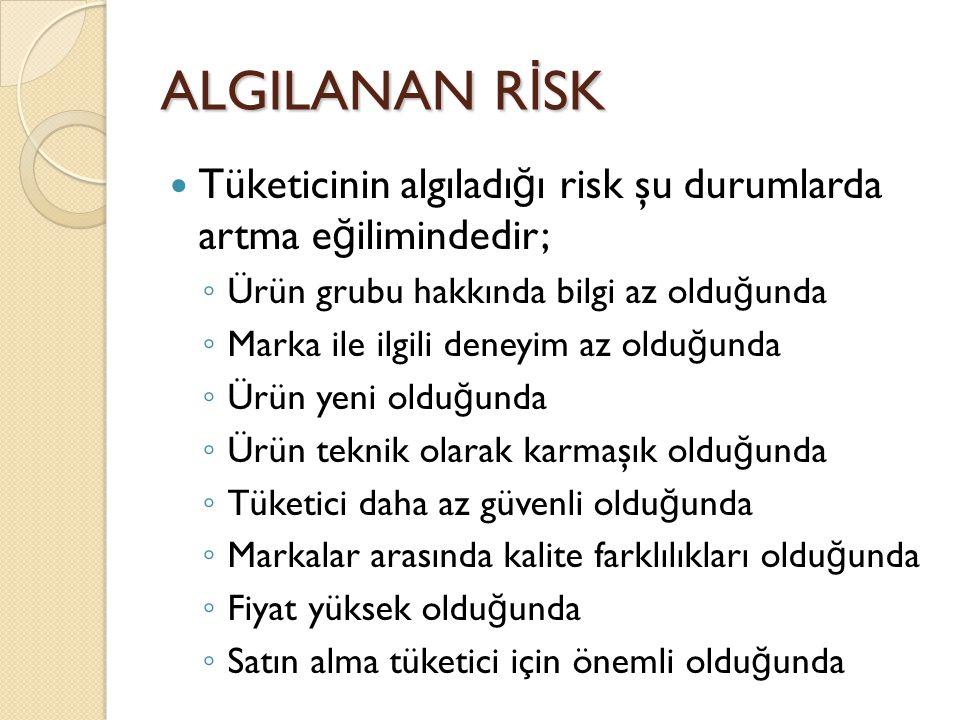 ALGILANAN R İ SK Tüketicinin algıladı ğ ı risk şu durumlarda artma e ğ ilimindedir; ◦ Ürün grubu hakkında bilgi az oldu ğ unda ◦ Marka ile ilgili dene