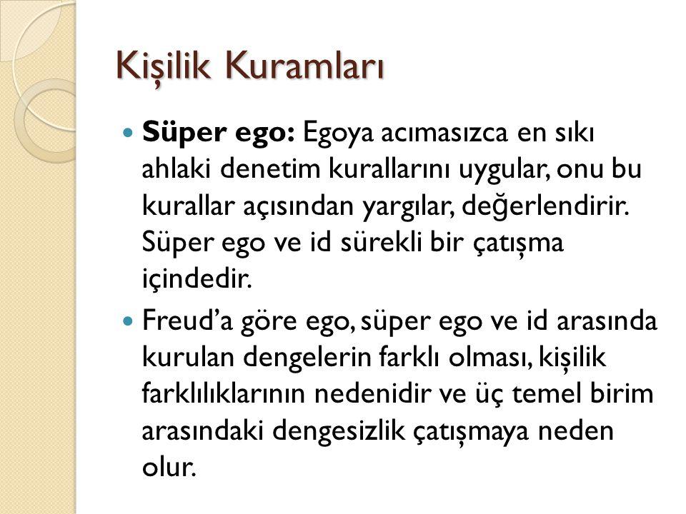 Kişilik Kuramları Süper ego: Egoya acımasızca en sıkı ahlaki denetim kurallarını uygular, onu bu kurallar açısından yargılar, de ğ erlendirir. Süper e