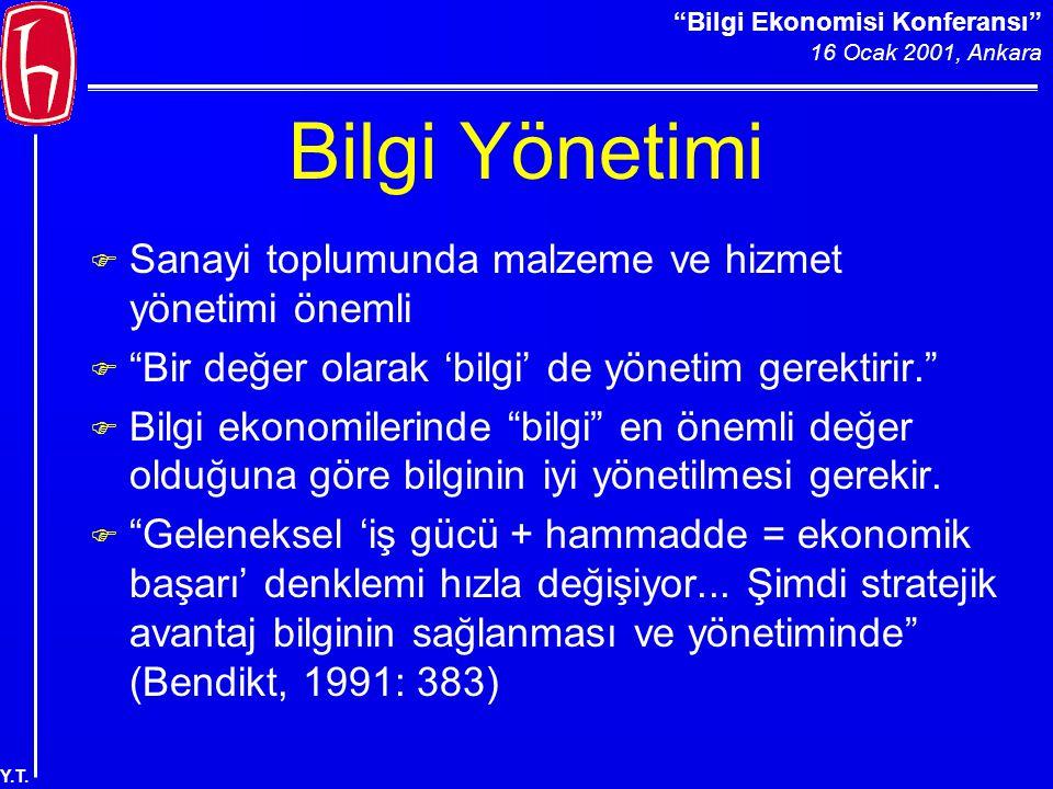 Bilgi Ekonomisi Konferansı 16 Ocak 2001, Ankara Y.T.