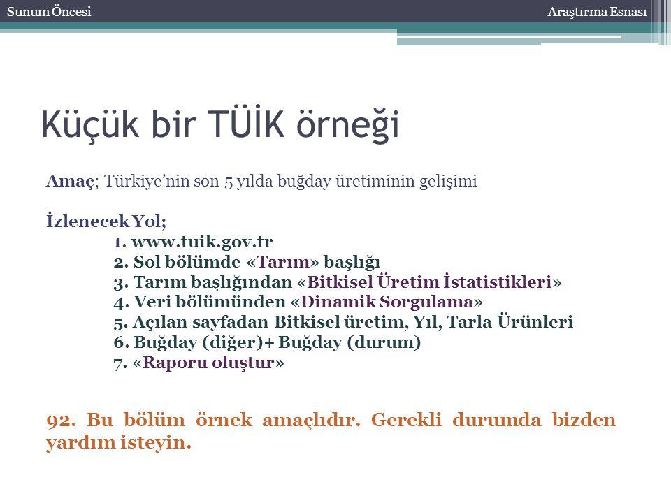 Küçük bir TÜİK örneği Sunum ÖncesiAraştırma Esnası Amaç; Türkiye'nin son 5 yılda buğday üretiminin gelişimi İzlenecek Yol; 1. www.tuik.gov.tr 2. Sol b