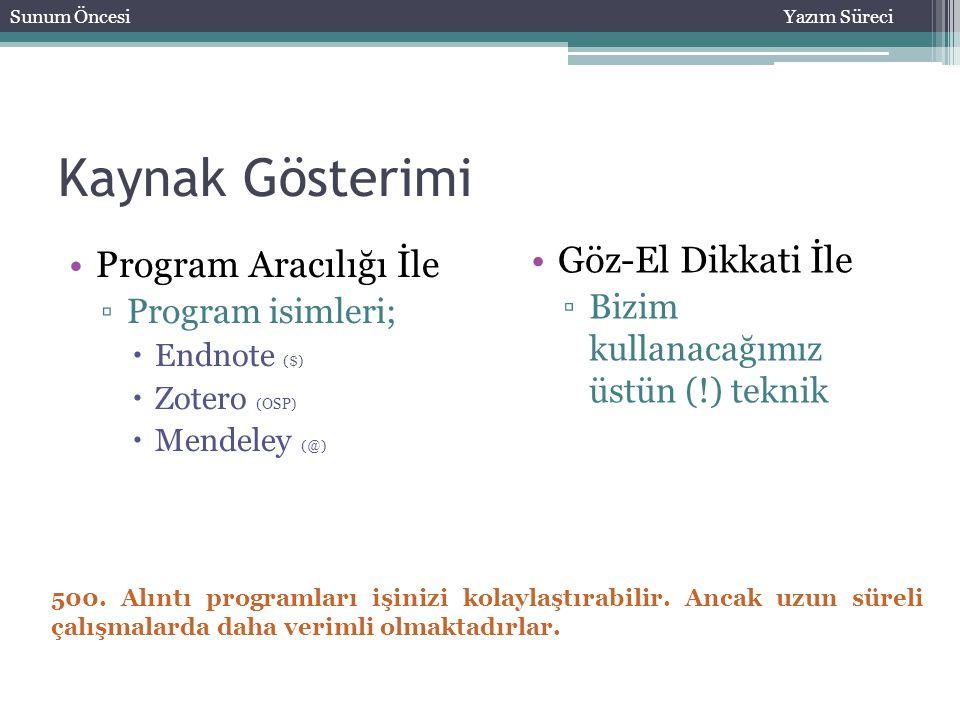 Kaynak Gösterimi Program Aracılığı İle ▫Program isimleri;  Endnote ($)  Zotero (OSP)  Mendeley (@) Sunum ÖncesiYazım Süreci Göz-El Dikkati İle ▫Biz