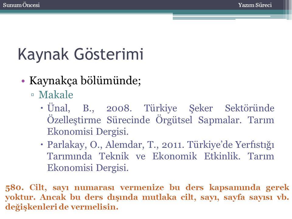 Kaynak Gösterimi Kaynakça bölümünde; ▫Makale  Ünal, B., 2008. Türkiye Şeker Sektöründe Özelleştirme Sürecinde Örgütsel Sapmalar. Tarım Ekonomisi Derg