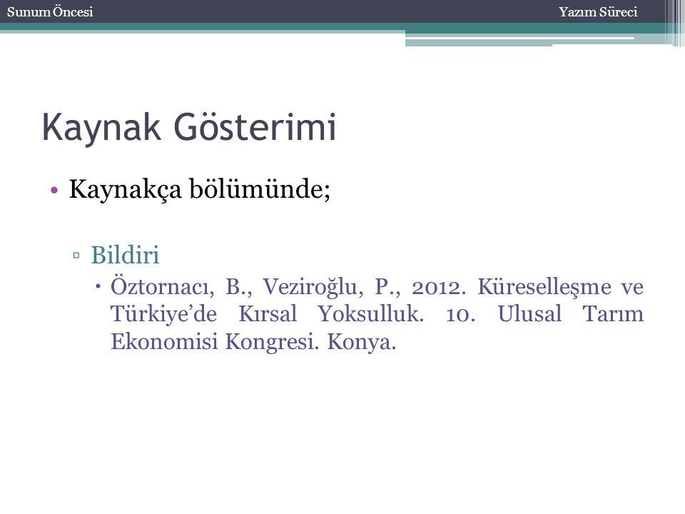 Kaynak Gösterimi Kaynakça bölümünde; ▫Bildiri  Öztornacı, B., Veziroğlu, P., 2012. Küreselleşme ve Türkiye'de Kırsal Yoksulluk. 10. Ulusal Tarım Ekon