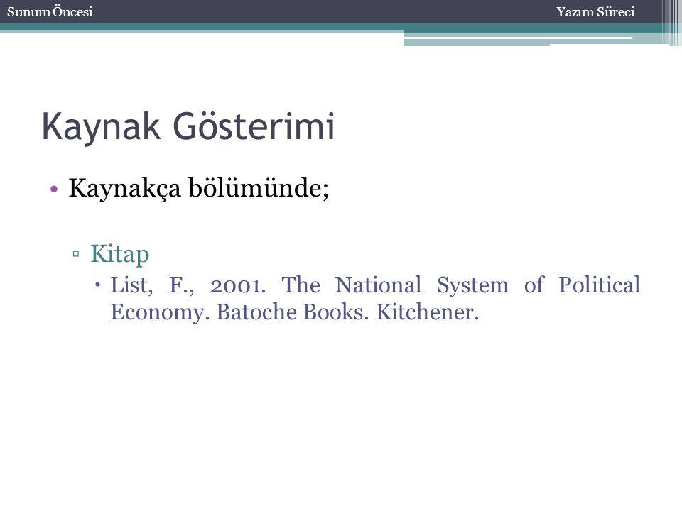 Kaynak Gösterimi Kaynakça bölümünde; ▫Kitap  List, F., 2001. The National System of Political Economy. Batoche Books. Kitchener. Sunum ÖncesiYazım Sü