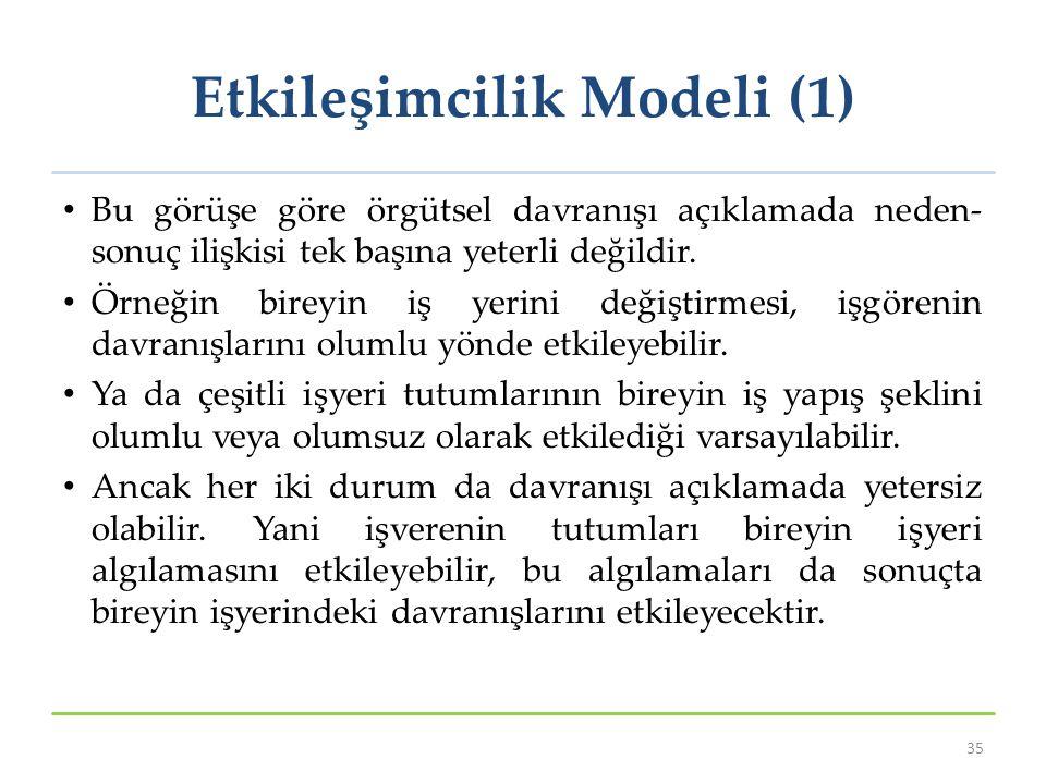 Etkileşimcilik Modeli (1) Bu görüşe göre örgütsel davranışı açıklamada neden- sonuç ilişkisi tek başına yeterli değildir. Örneğin bireyin iş yerini de