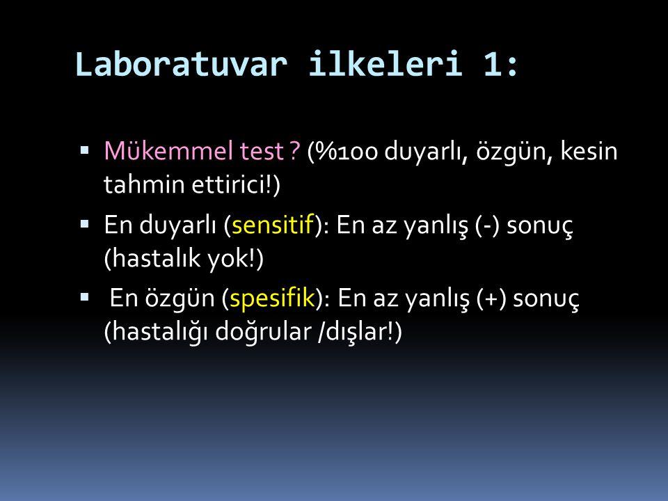 Laboratuvar ilkeleri 1:  Mükemmel test ? (%100 duyarlı, özgün, kesin tahmin ettirici!)  En duyarlı (sensitif): En az yanlış (-) sonuç (hastalık yok!