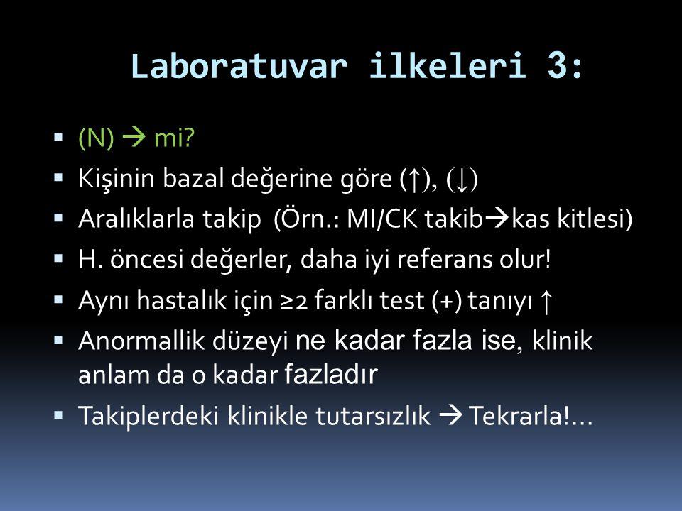 Laboratuvar ilkeleri 3 :  (N)  mi?  Kişinin bazal değerine göre ( ↑), (↓)  Aralıklarla takip (Örn.: MI/CK takib  kas kitlesi)  H. öncesi değerle