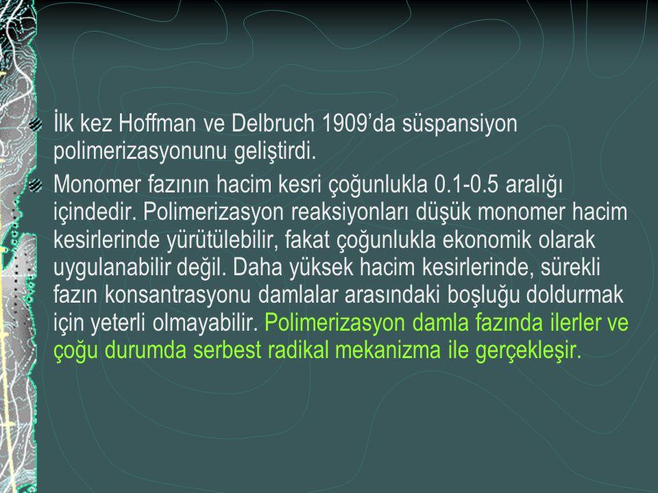 İlk kez Hoffman ve Delbruch 1909'da süspansiyon polimerizasyonunu geliştirdi. Monomer fazının hacim kesri çoğunlukla 0.1-0.5 aralığı içindedir. Polime