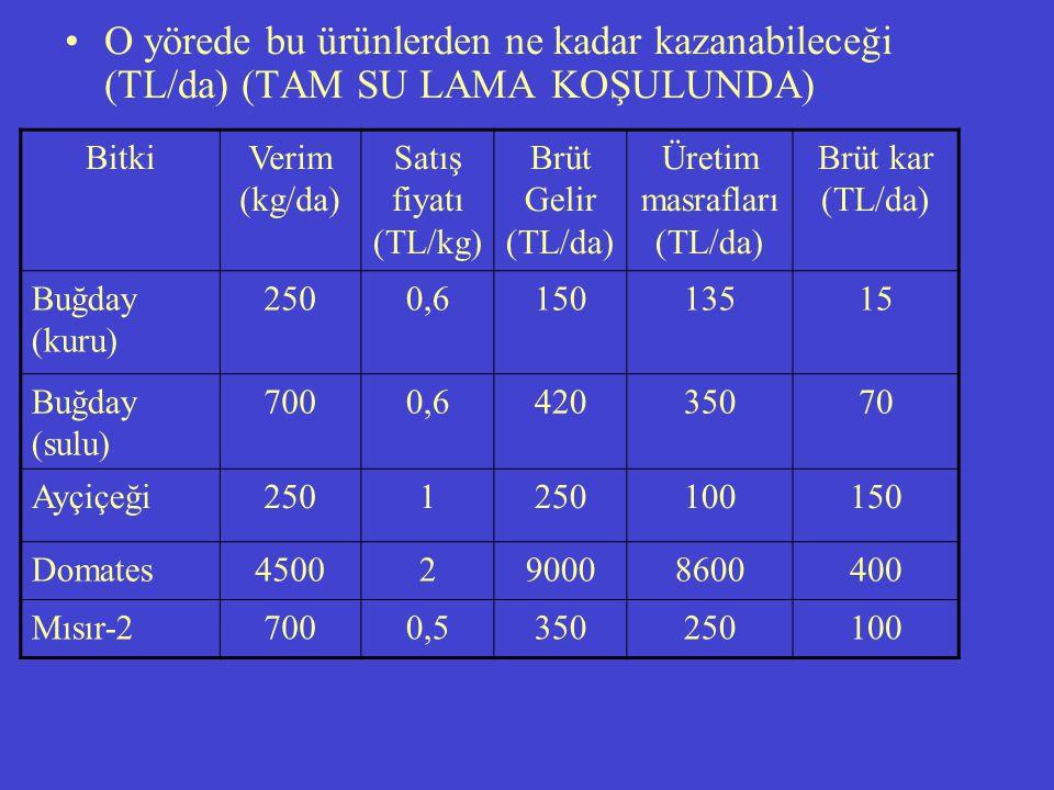 O yörede bu ürünlerden ne kadar kazanabileceği (TL/da) (TAM SU LAMA KOŞULUNDA) BitkiVerim (kg/da) Satış fiyatı (TL/kg) Brüt Gelir (TL/da) Üretim masrafları (TL/da) Brüt kar (TL/da) Buğday (kuru) 2500,615013515 Buğday (sulu) 7000,642035070 Ayçiçeği2501 100150 Domates4500290008600400 Mısır-27000,5350250100