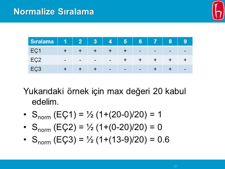 20 Normalize Sıralama Sıralama123456789 EÇ1+++++---- EÇ2----+++++ EÇ3+++---++- Yukarıdaki örnek için max değeri 20 kabul edelim.