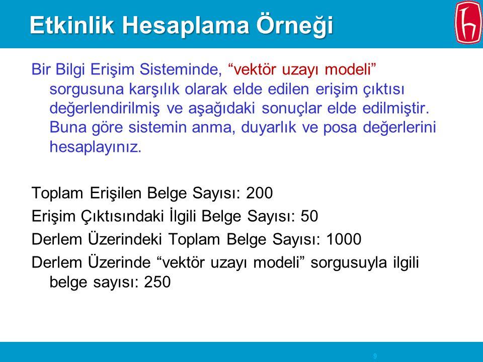 9 Etkinlik Hesaplama Örneği Bir Bilgi Erişim Sisteminde, vektör uzayı modeli sorgusuna karşılık olarak elde edilen erişim çıktısı değerlendirilmiş ve aşağıdaki sonuçlar elde edilmiştir.