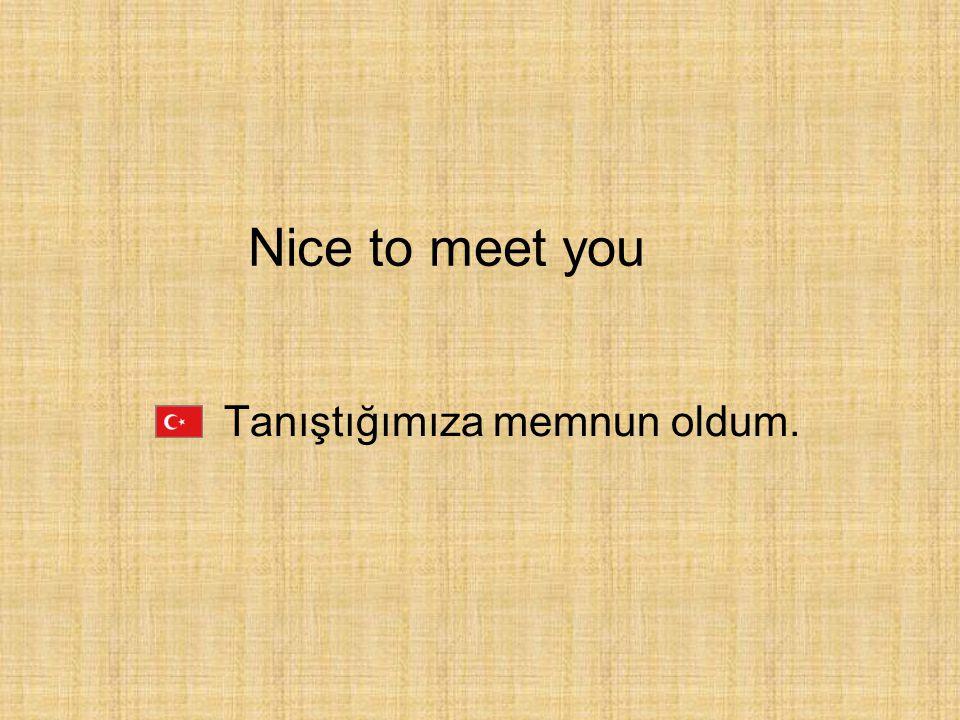 Tanıştığımıza memnun oldum. Nice to meet you