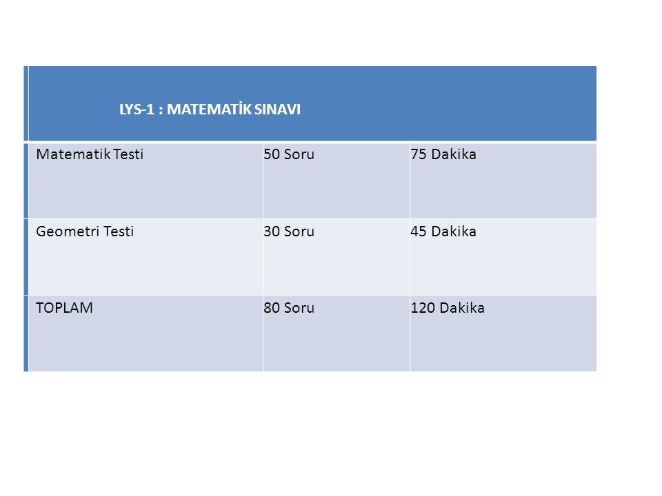LYS-1 : MATEMATİK SINAVI Matematik Testi50 Soru75 Dakika Geometri Testi30 Soru45 Dakika TOPLAM80 Soru120 Dakika