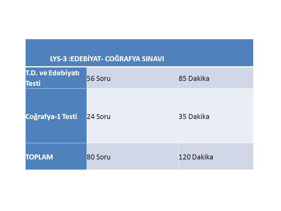 LYS-3 :EDEBİYAT- COĞRAFYA SINAVI T.D.