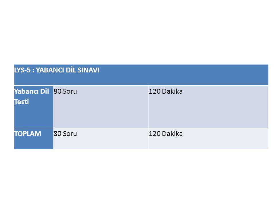 LYS-5 : YABANCI DİL SINAVI Yabancı Dil Testi 80 Soru120 Dakika TOPLAM80 Soru120 Dakika