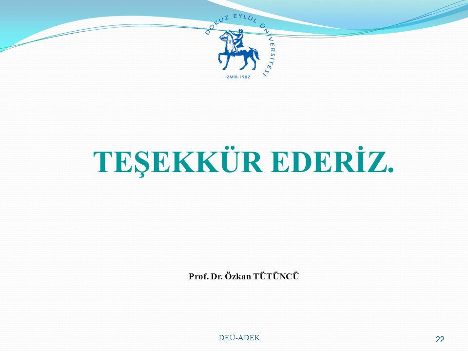 22 TEŞEKKÜR EDERİZ. Prof. Dr. Özkan TÜTÜNCÜ DEÜ-ADEK