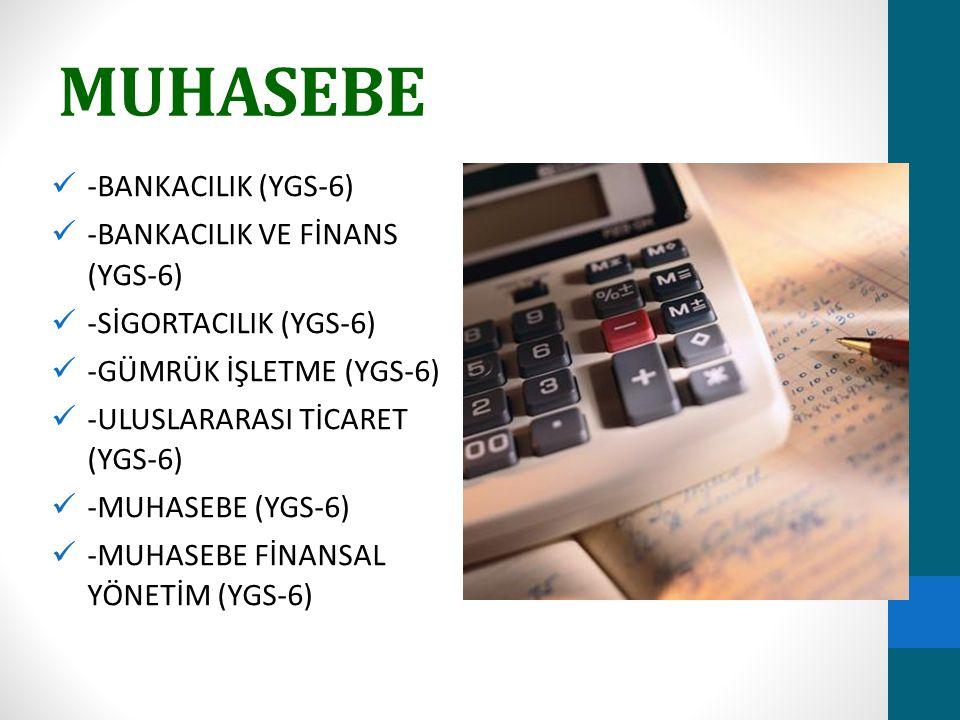 MUHASEBE -BANKACILIK (YGS-6) -BANKACILIK VE FİNANS (YGS-6) -SİGORTACILIK (YGS-6) -GÜMRÜK İŞLETME (YGS-6) -ULUSLARARASI TİCARET (YGS-6) -MUHASEBE (YGS-