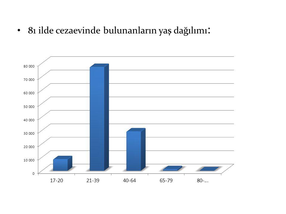 81 ilde cezaevinde bulunanların yaş dağılımı :