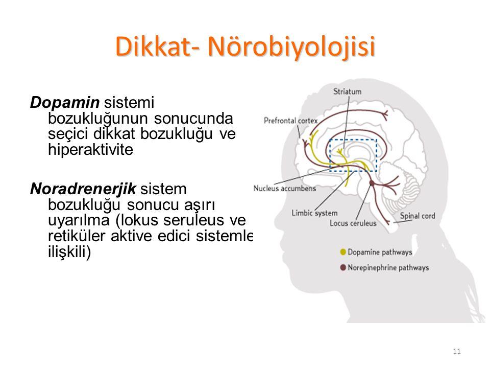 11 Dikkat- Nörobiyolojisi Dopamin sistemi bozukluğunun sonucunda seçici dikkat bozukluğu ve hiperaktivite Noradrenerjik sistem bozukluğu sonucu aşırı uyarılma (lokus seruleus ve retiküler aktive edici sistemle ilişkili)