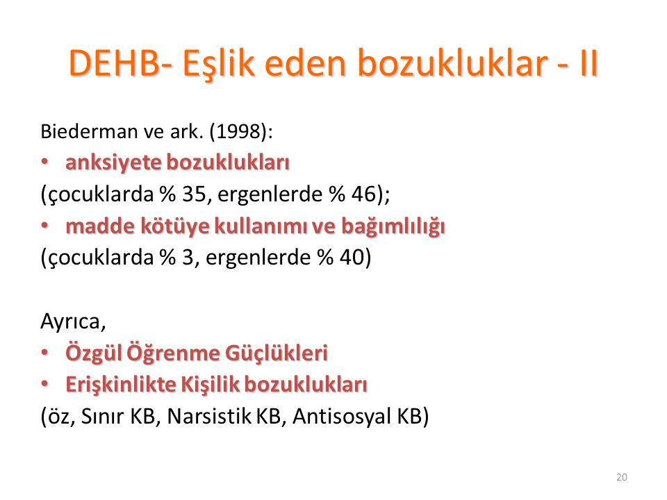 20 DEHB- Eşlik eden bozukluklar - II Biederman ve ark.