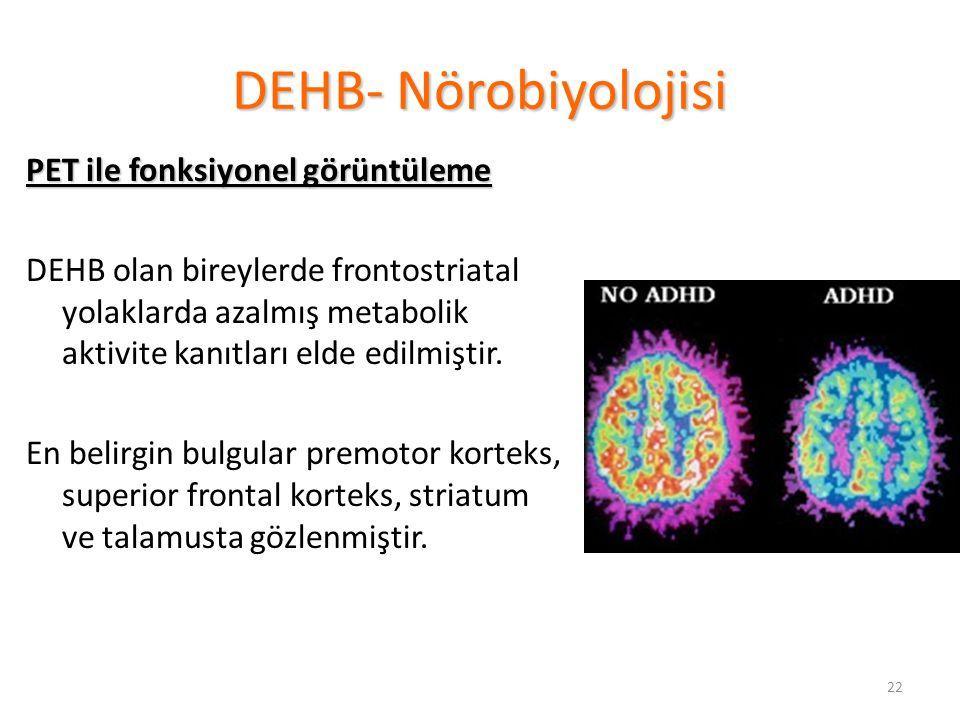 22 DEHB- Nörobiyolojisi PET ile fonksiyonel görüntüleme DEHB olan bireylerde frontostriatal yolaklarda azalmış metabolik aktivite kanıtları elde edilmiştir.