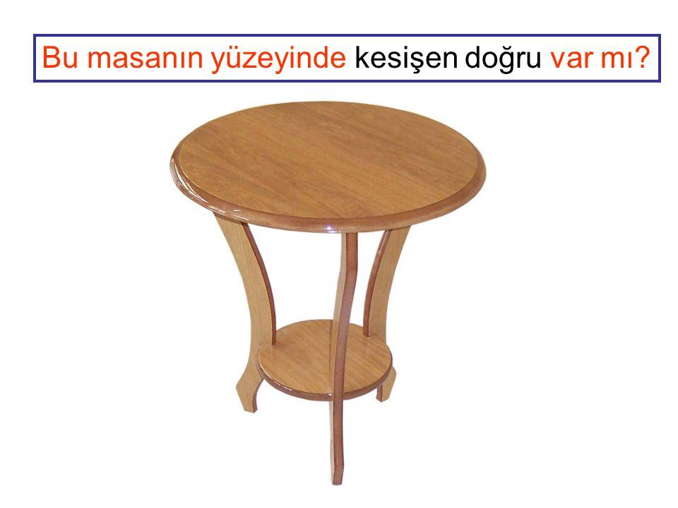 Bu masanın yüzeyinde kesişen doğru var mı?