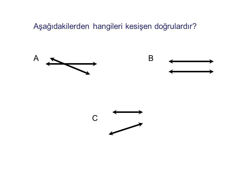 Aşağıdakilerden hangileri kesişen doğrulardır? A B C
