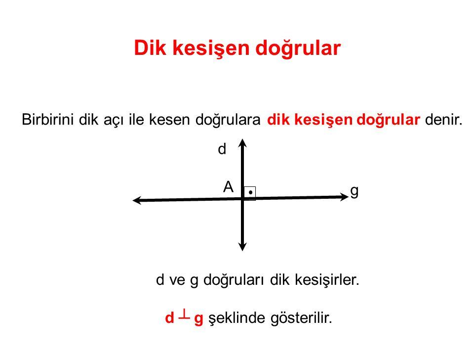 Dik kesişen doğrular Birbirini dik açı ile kesen doğrulara dik kesişen doğrular denir.