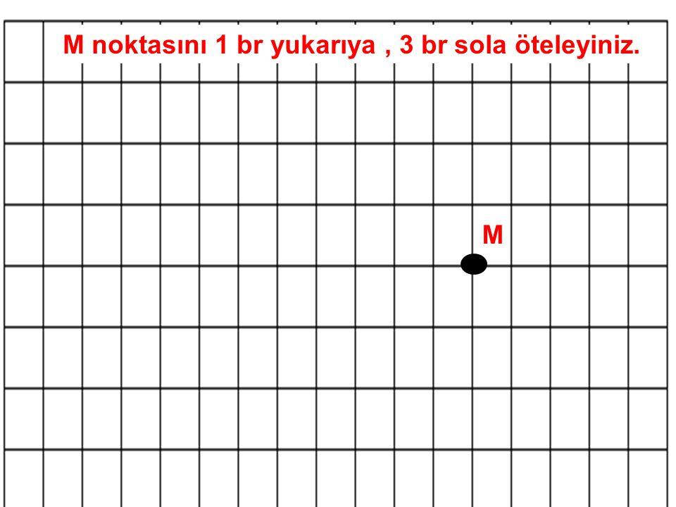 M noktasını 1 br yukarıya, 3 br sola öteleyiniz. M