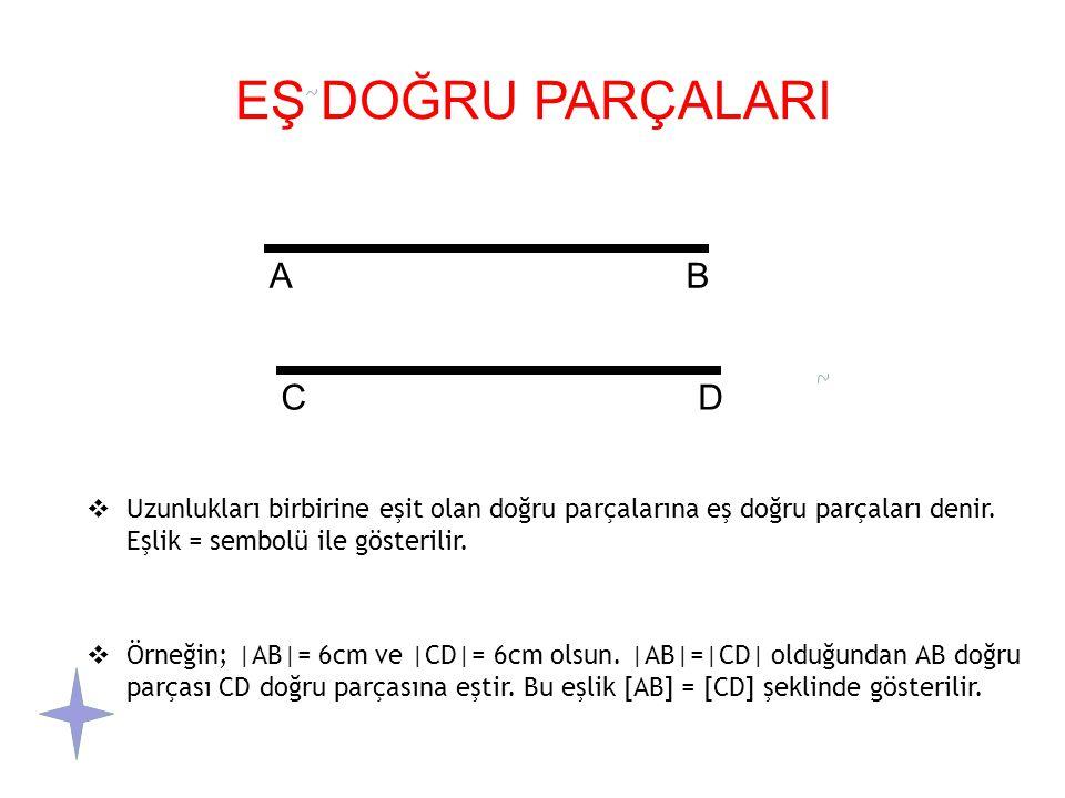 EŞ DOĞRU PARÇALARI  Uzunlukları birbirine eşit olan doğru parçalarına eş doğru parçaları denir.