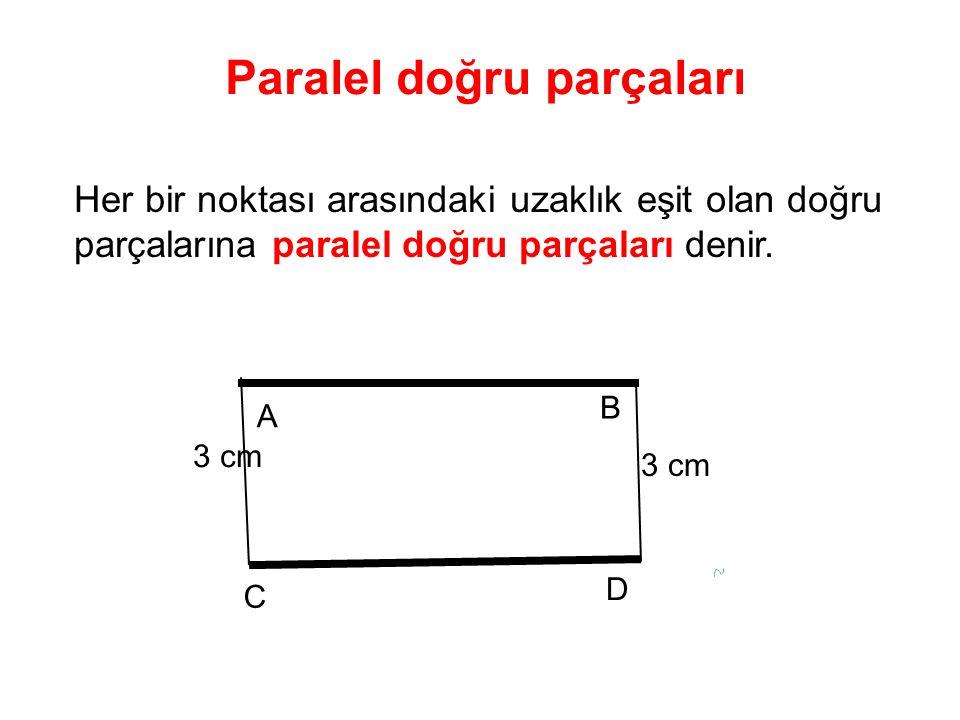 B C D Paralel doğru parçaları A 3 cm Her bir noktası arasındaki uzaklık eşit olan doğru parçalarına paralel doğru parçaları denir.