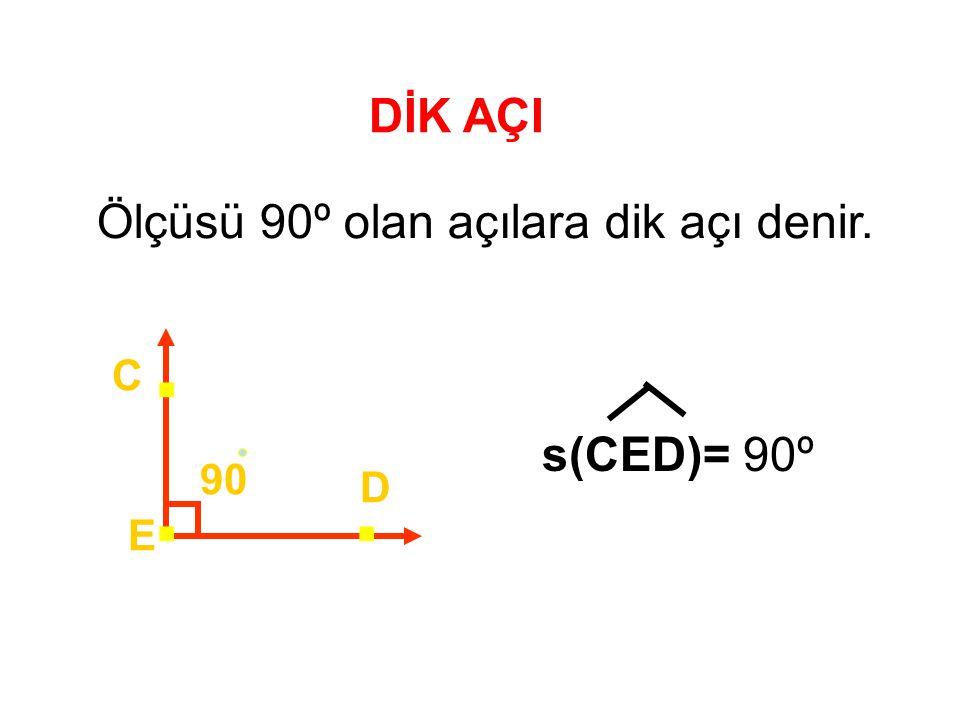 DİK AÇI Ölçüsü 90º olan açılara dik açı denir. 90 E D C... s(CED)= 90º