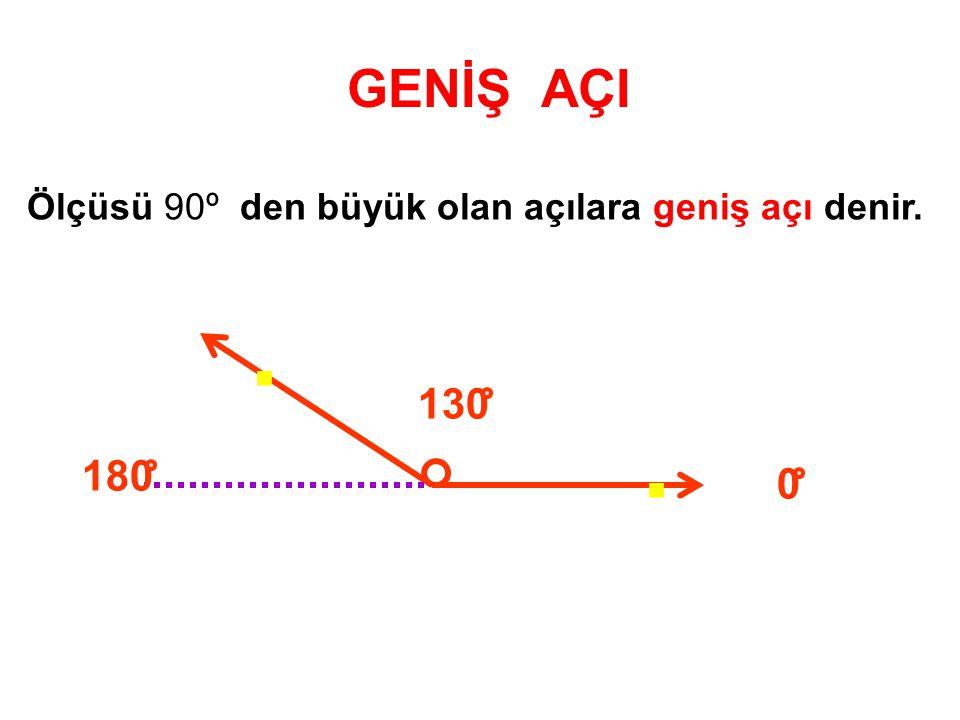 Ölçüsü 90º den büyük olan açılara geniş açı denir. GENİŞ AÇI.. 180 130 0