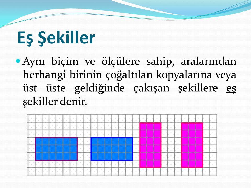 Eş Şekiller Aynı biçim ve ölçülere sahip, aralarından herhangi birinin çoğaltılan kopyalarına veya üst üste geldiğinde çakışan şekillere eş şekiller d