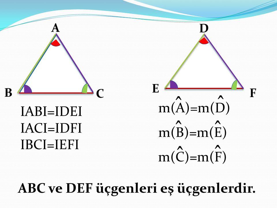 A B C D E F IABI=IDEI IACI=IDFI IBCI=IEFI ABC ve DEF üçgenleri eş üçgenlerdir. ̂ m(A)=m(D) ̂ ̂ m(B)=m(E) ̂ ̂̂ m(C)=m(F)