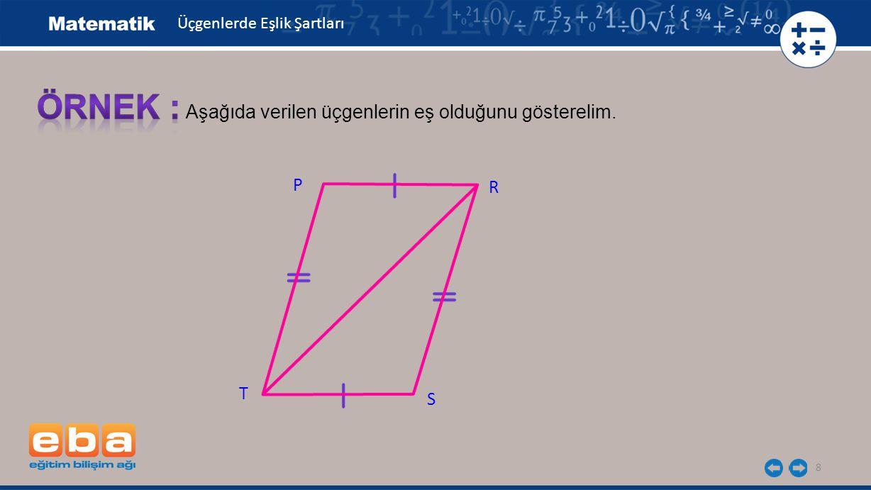 8 P Aşağıda verilen üçgenlerin eş olduğunu gösterelim. T R S Üçgenlerde Eşlik Şartları