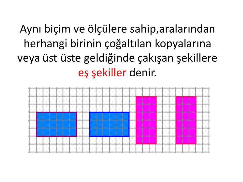 Biçimleri aynı,karşılıklı kenar uzunlukları ve açılarının ölçüleri eşit olan çokgenlere eş çokgenler denir.