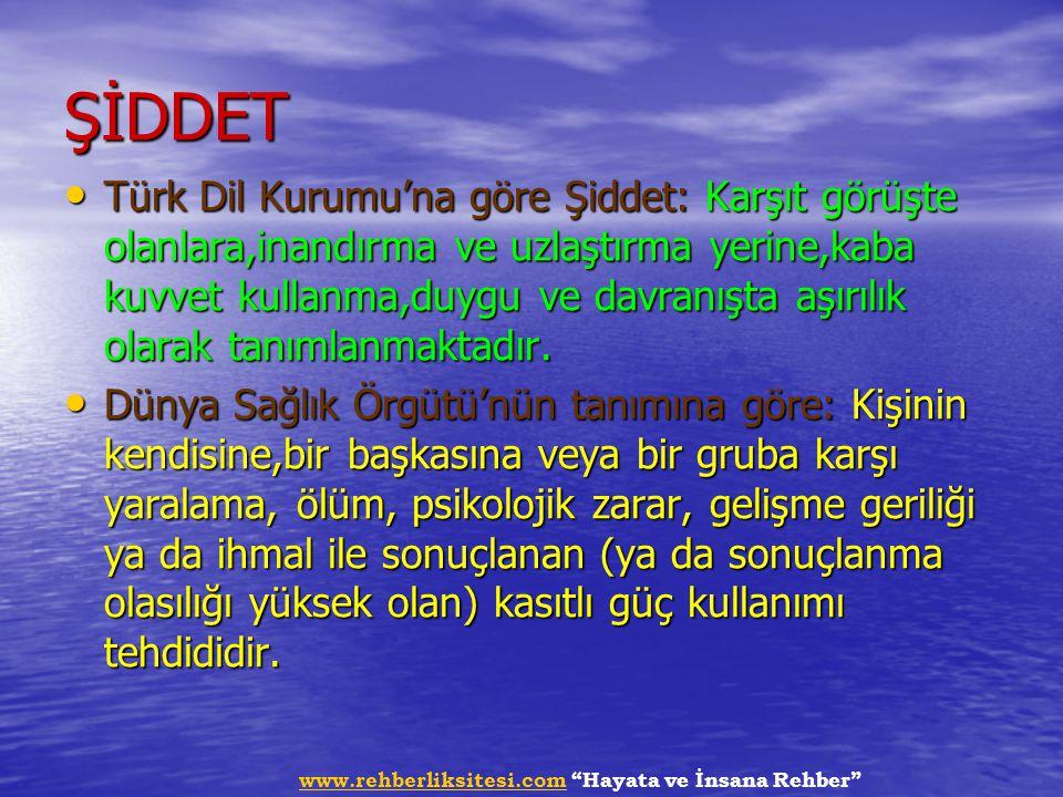 """www.rehberliksitesi.comwww.rehberliksitesi.com """"Hayata ve İnsana Rehber"""" ŞİDDET Türk Dil Kurumu'na göre Şiddet: Karşıt görüşte olanlara,inandırma ve u"""