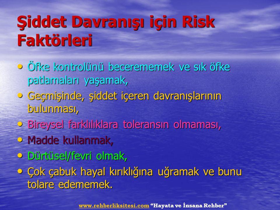 """www.rehberliksitesi.comwww.rehberliksitesi.com """"Hayata ve İnsana Rehber"""" Şiddet Davranışı için Risk Faktörleri Öfke kontrolünü becerememek ve sık öfke"""